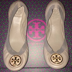 Tory Burch Grey Leather Caroline Ballet Flats 8.5